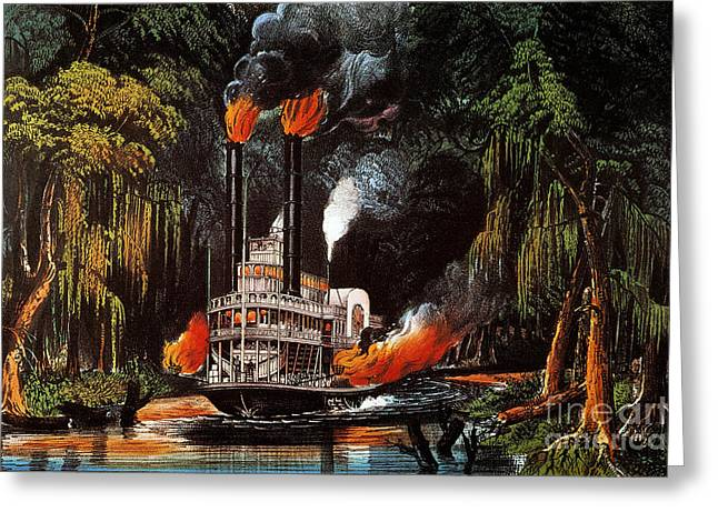 Louisiana: Steamboat, 1865 Greeting Card by Granger