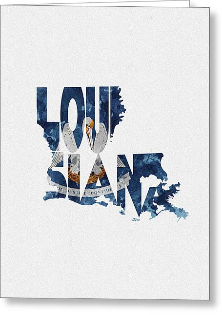 Louisiana Typographic Map Flag Greeting Card