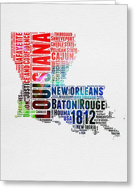 Louisiana Watercolor Word Cloud Map  Greeting Card by Naxart Studio