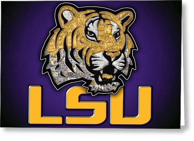 Louisiana State University Tigers Football Greeting Card by Fairchild Art Studio