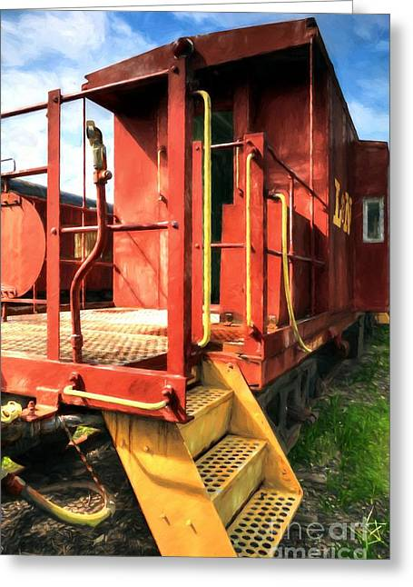 Louisville And Nashville Red Caboose Greeting Card by Mel Steinhauer