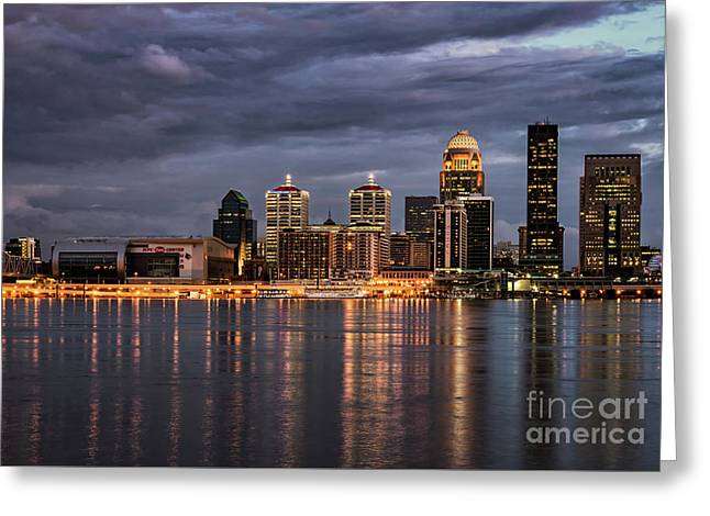 Greeting Card featuring the photograph Louisville At Dusk by Andrea Silies