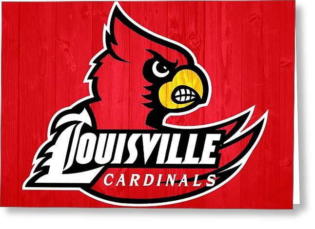 Louisville Cardinals Barn Door Greeting Card by Dan Sproul