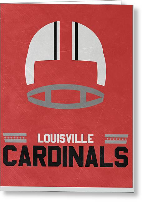 Louisville Cardinals Vintage Football Art Greeting Card