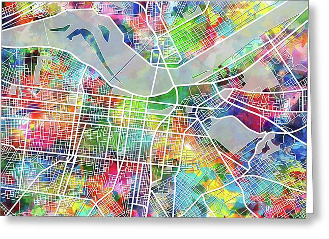 Louisville Kentucky City Map 4 Greeting Card