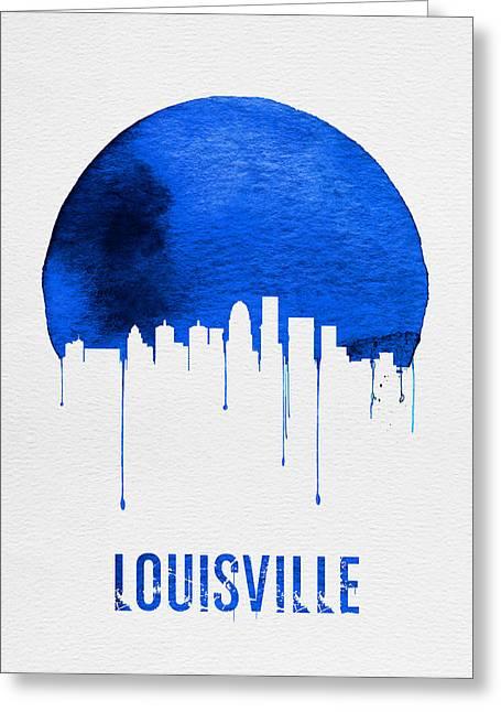 Louisville Skyline Blue Greeting Card by Naxart Studio