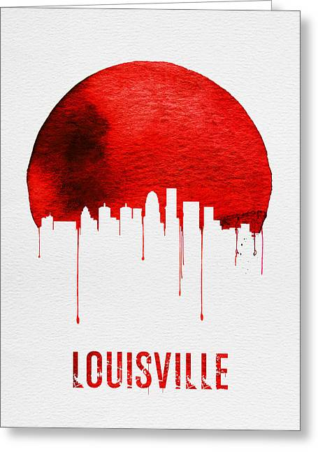 Louisville Skyline Red Greeting Card by Naxart Studio