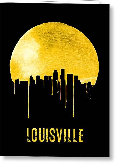 Louisville Skyline Yellow Greeting Card by Naxart Studio