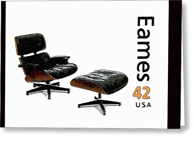Lounge Chair And Ottoman Greeting Card by Lanjee Chee