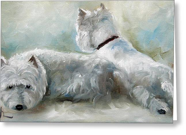 Westie Art Greeting Cards - Lounge Greeting Card by Mary Sparrow