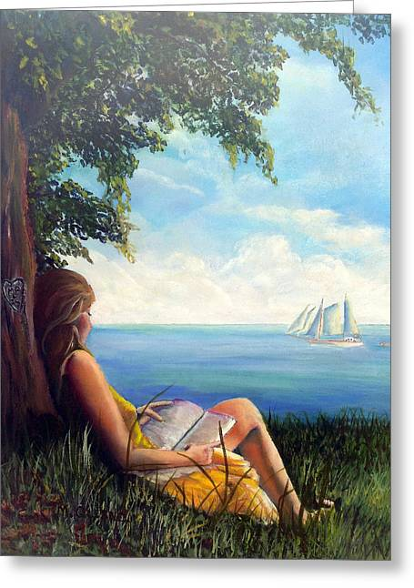 Lounging Goddess Greeting Card by Marcel Quesnel