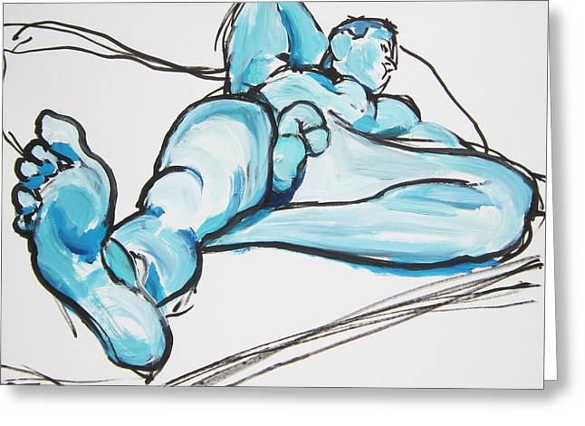 Lounging In Blue Greeting Card
