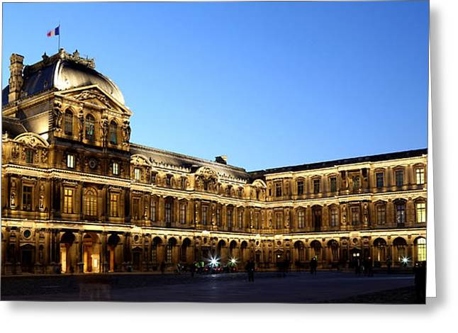 Greeting Card featuring the photograph Louvre At Night 1 by Andrew Fare