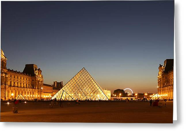 Greeting Card featuring the photograph Louvre At Night 2 by Andrew Fare