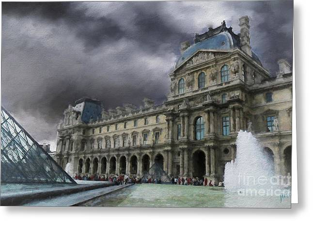 Greeting Card featuring the mixed media Louvre by Jim  Hatch