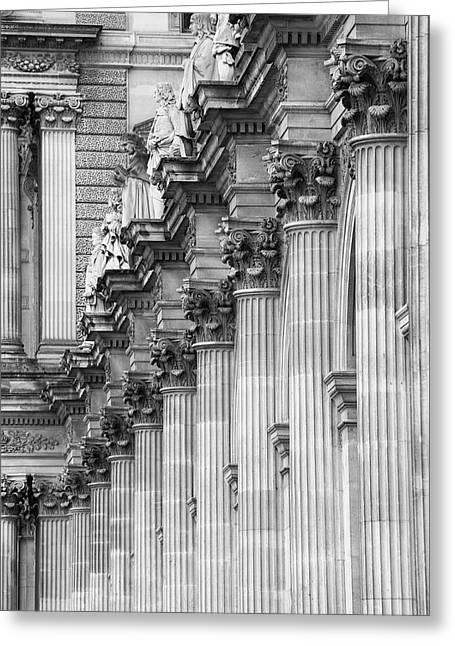 Greeting Card featuring the photograph Louvre Pillars, Paris, 2015 by Hitendra SINKAR