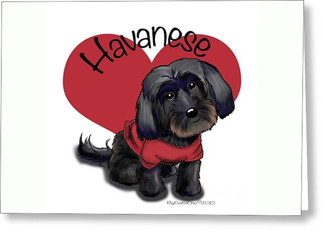 Lovable Black Havanese Greeting Card by Catia Cho