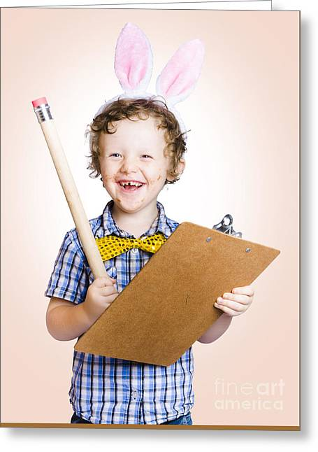 Lovable Easter Child Holding Clipboard And Pencil Greeting Card by Jorgo Photography - Wall Art Gallery