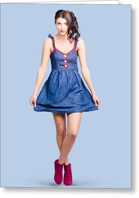 Lovable Eighties Female Pin-up In Denim Dress Greeting Card by Jorgo Photography - Wall Art Gallery