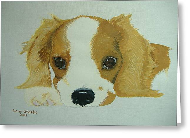 Greeting Card featuring the painting Lovable Puppy by Norm Starks