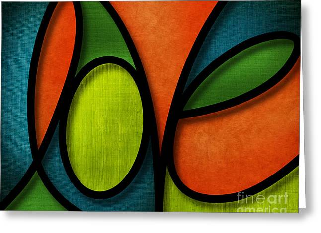 Greeting Card featuring the mixed media Love - Abstract by Shevon Johnson