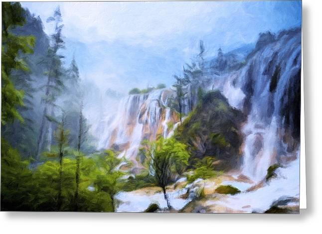 Love Affair By A Waterfall Greeting Card by Georgiana Romanovna