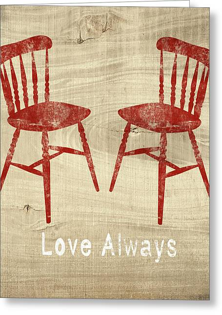 Love Always Red Chairs- Art By Linda Woods Greeting Card by Linda Woods