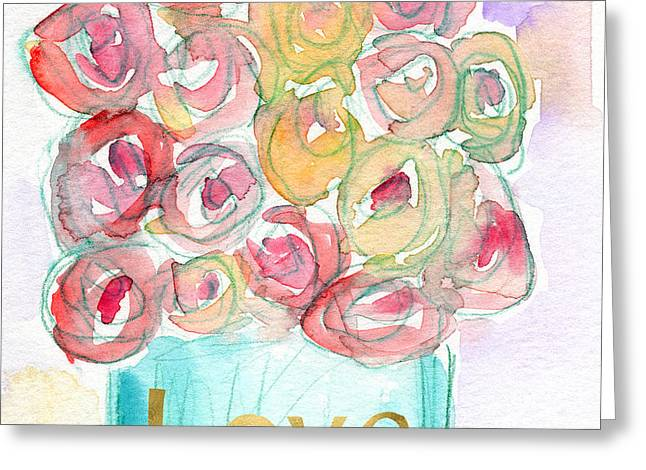 Love And Roses- Art By Linda Woods Greeting Card