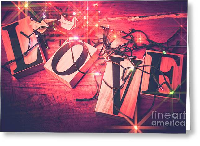 Love Birds And Wooden Sentiments Greeting Card by Jorgo Photography - Wall Art Gallery