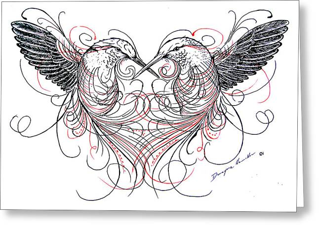 Love Birds Greeting Card by Dwayne Hamilton