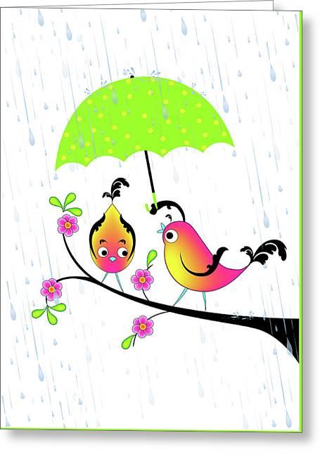 Love Birds In Rain Greeting Card