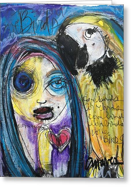 Love Birds Greeting Card by Laurie Maves ART