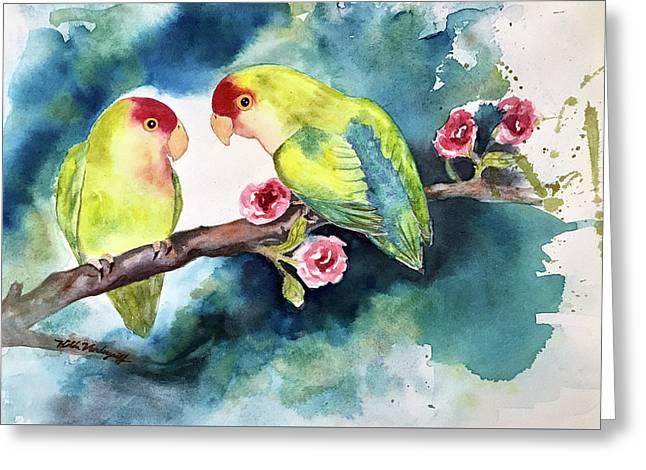 Love Birds On Branch Greeting Card