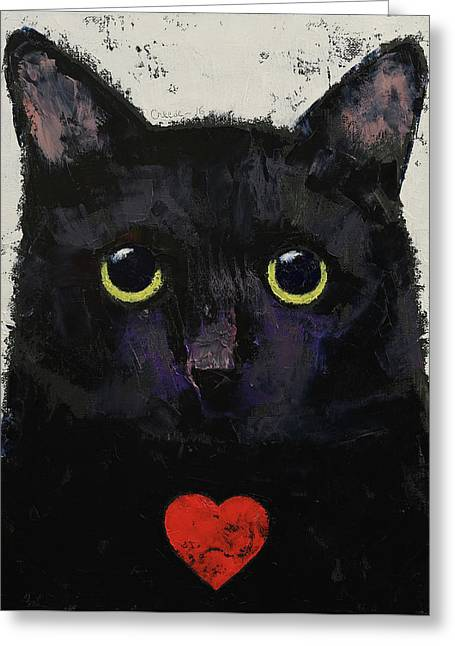 Love Cat Greeting Card by Michael Creese