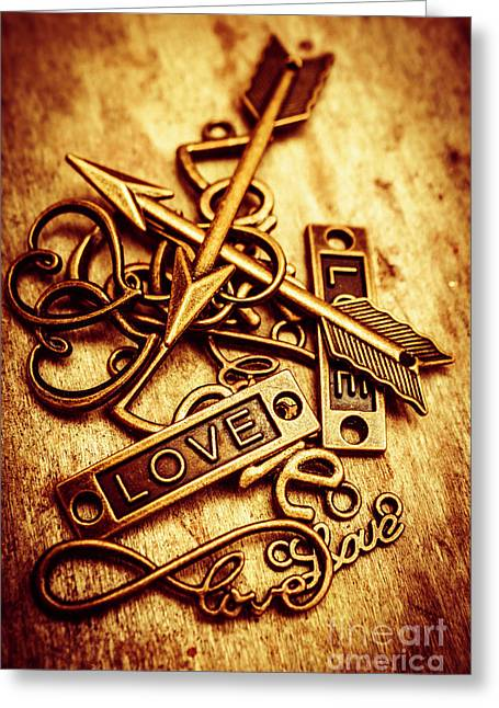 Love Charms In Romantic Signs And Symbols Greeting Card