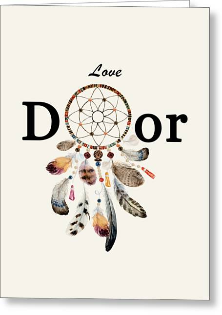 Greeting Card featuring the painting Love Dior Watercolour Dreamcatcher by Georgeta Blanaru