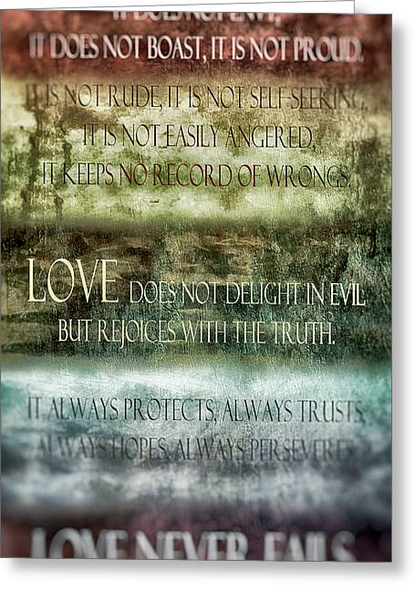 Love Does Not Delight In Evil Greeting Card by Angelina Vick