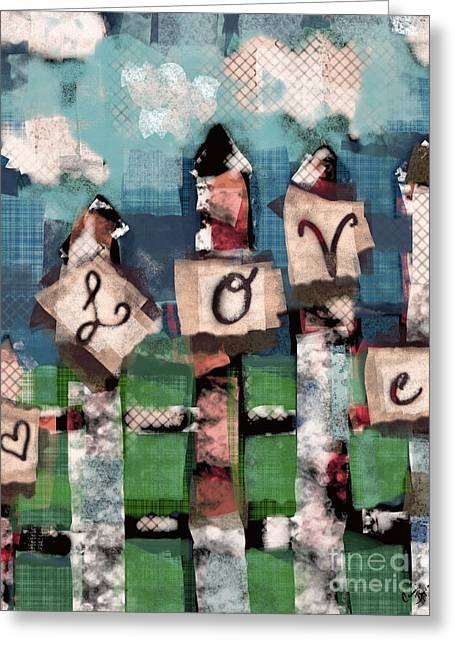 Love Fence Greeting Card by Carrie Joy Byrnes