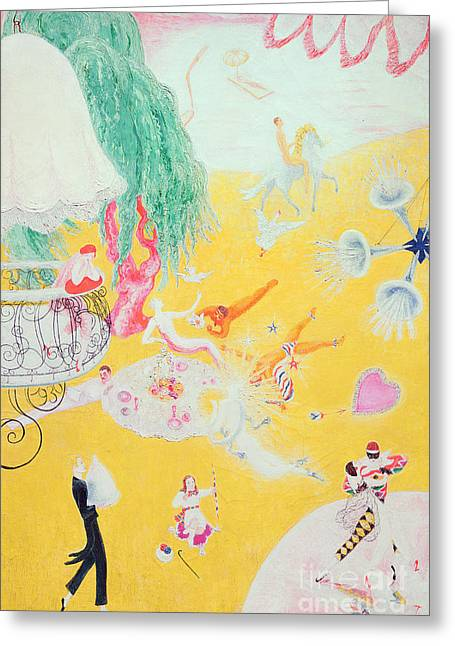 Dreamlike Greeting Cards - Love Flight of a Pink Candy Heart Greeting Card by  Florine Stettheimer