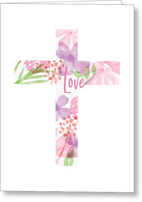 Love Floral Cross- Art By Linda Woods Greeting Card