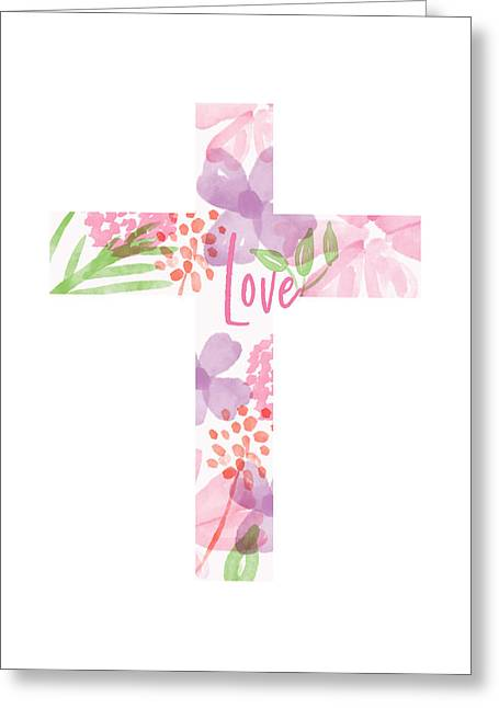 Love Floral Cross- Art By Linda Woods Greeting Card