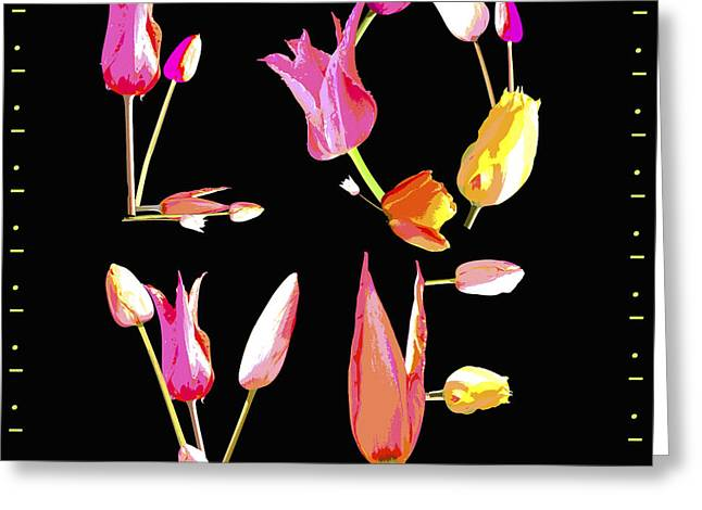 Love Flower Power  Art On Black Greeting Card