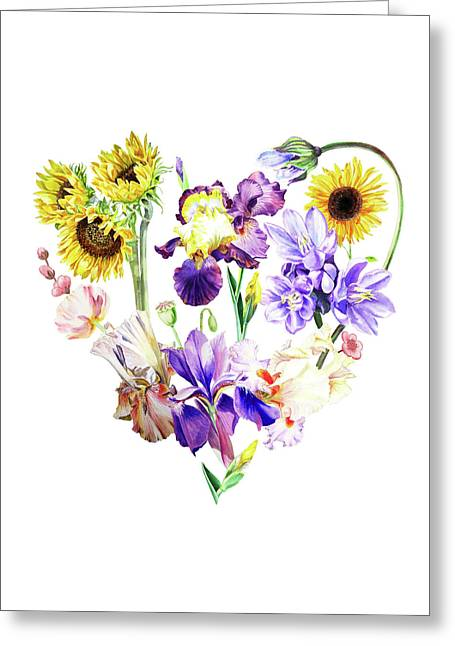 Greeting Card featuring the painting Love Flowers by Irina Sztukowski