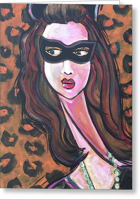Greeting Card featuring the painting Love For Cat Woman  by Laurie Maves ART