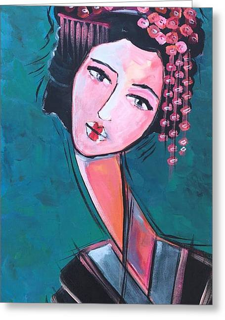 Greeting Card featuring the painting Love For Geisha Girl by Laurie Maves ART