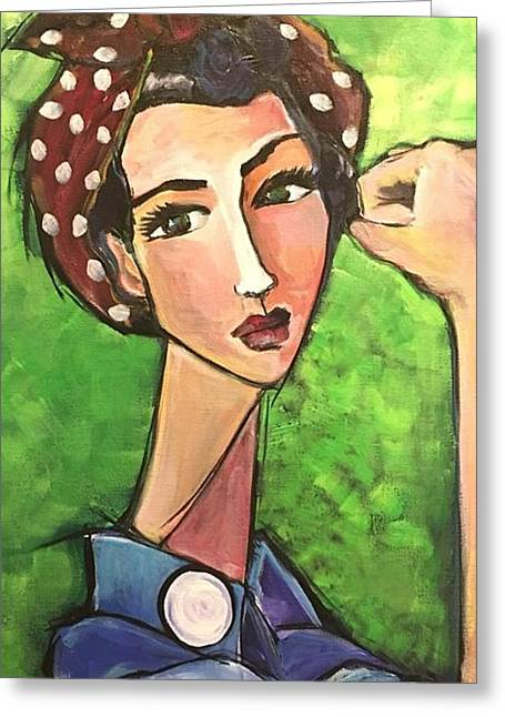 Greeting Card featuring the painting Love For Riveters by Laurie Maves ART