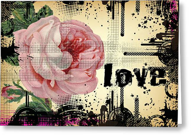 Love Grunge Rose Greeting Card