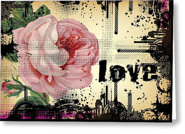 Love Grunge Rose Greeting Card