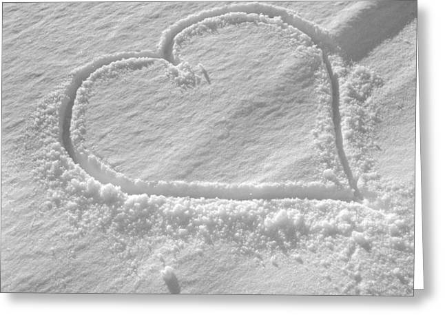 Love Heart In The Snow Greeting Card by German School