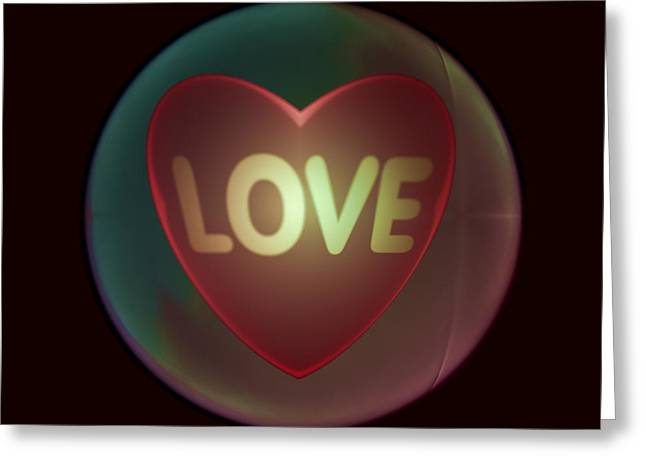Love Heart Inside A Bakelite Round Package Greeting Card